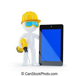 ouvrier construction, tablette, informatique