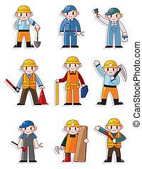 ouvrier, dessin animé, icône