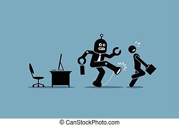 ouvrier, humain, employé, robot, loin, métier, bureau., sien, coups pied, informatique