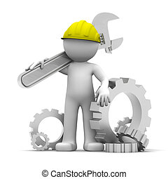 ouvrier industriel, clé, 3d