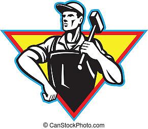 ouvrier, marteau, retro