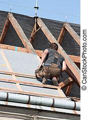 ouvrier, toit