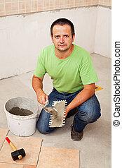 ouvrier, tuiles, céramique, pose, plancher
