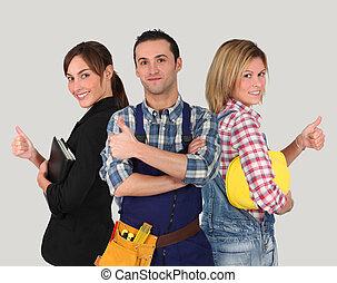ouvriers, blanc, groupe, jeune, fond