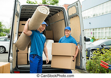 ouvriers, boîtes portantes, carton, moquette