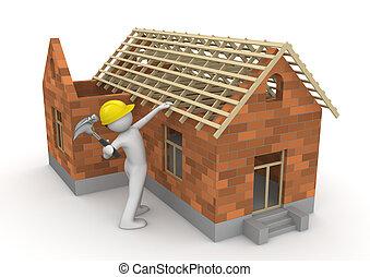ouvriers, -, charpentier, collection, toit, bois construction