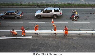 ouvriers, construction, aérien, route, vue