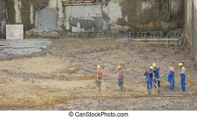 ouvriers, construction, défaillance, temps