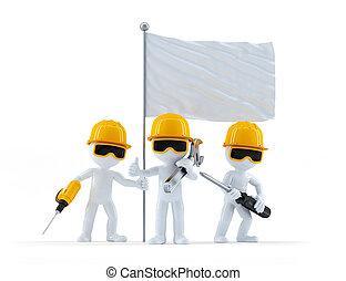 ouvriers, construction, groupe, drapeau
