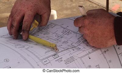 ouvriers, construction, modèles, consulter