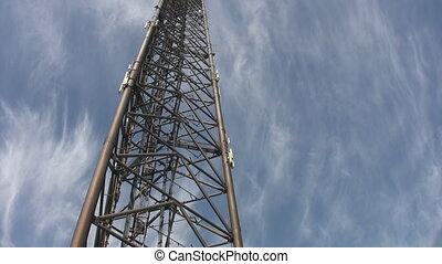 ouvriers, descendre, tower., géant