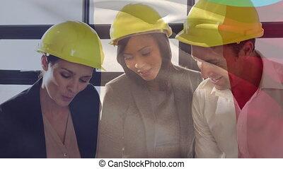 ouvriers, francais, sur, plans., site, fonctionnement, drapeau