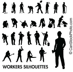 ouvriers, silhouettes