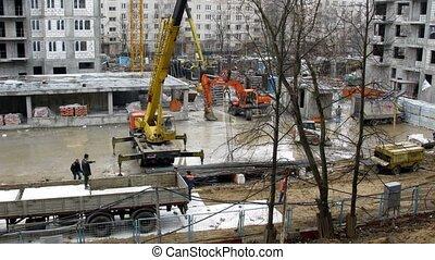 ouvriers, site, temps construction, mettre, plaques, défaillance