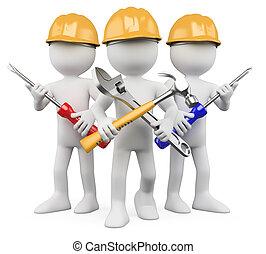 ouvriers, travail, -, 3d, équipe