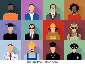 ouvriers, uniforme, gens, ensemble