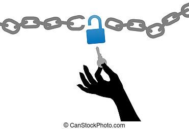 ouvrir, clã©, gratuite, serrure, chaîne, personne, main