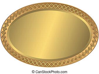 ovale, doré, métal, bronze, plaque