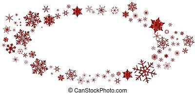 ovale, frontière, noël, rouges, flocon de neige