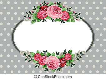 ovale, roses, retro, vendange