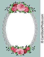 ovale, vendange, cadre, roses