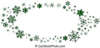 ovale, vert, frontière, noël, flocon de neige