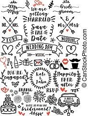 overlays, vecteur, ensemble, mariage