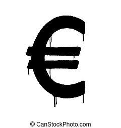 overspray, vaporisé, vecteur, illustration., euro, white., graffiti, noir, sur, icône