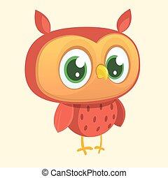 owl., vecteur, caractère, dessin animé, heureux