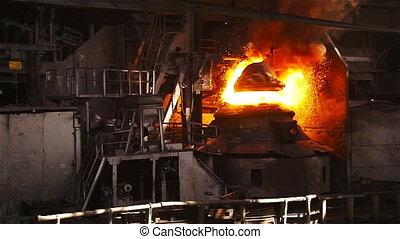 oxygène, général, métal, furnace., purging, slowed, plan, fondamental