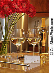 pâquerettes, lunettes, vie, vin, gerbera, encore, blanc
