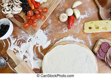 pâte, délicieux, pizza