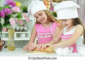 pâte, peu, confection, mignon, filles, chapeaux