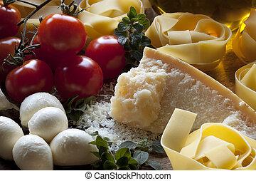 pâtes, italien, ingrédients