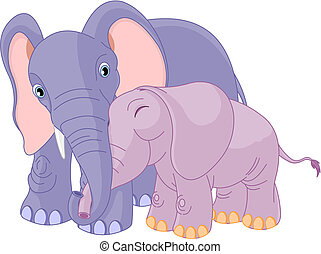 père, elle, veau, éléphant