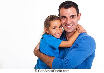 père, fille, étreindre