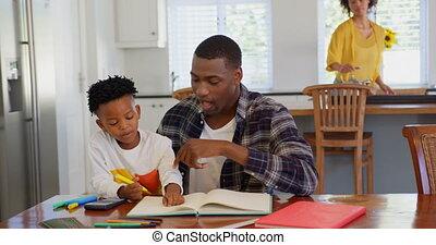 père, fils, devoirs, maison, vue, 4k, sien, noir, devant, portion, confortable