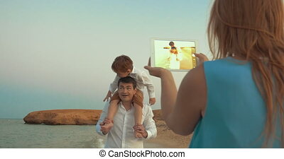 père, fils, tampon, mère, tir, plage
