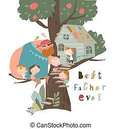 père, heureux, jouer, treehouse, enfants