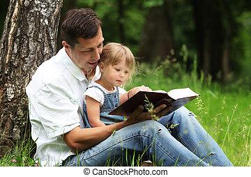 père, lit, bible, fille
