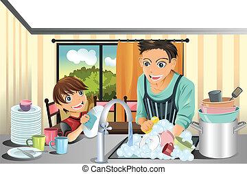 père, plats lavage, fils