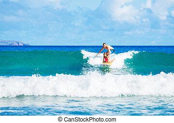 père, surfer, duaghter, ensemble
