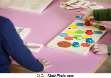 pédagogique, enfants jouer, fait maison, jouets