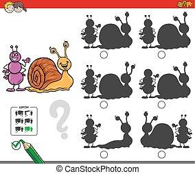 pédagogique, ombre, jeu, escargot, fourmi