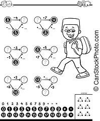pédagogique, tâche, coloration, calcul, livre