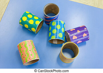 pédagogique, tubes, bricolage, coloré