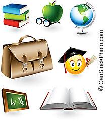 pédagogique, vecteur, éléments