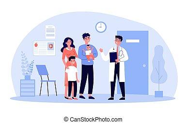 pédiatre, famille, heureux, gosses, visiter