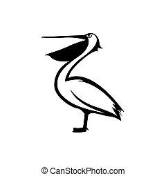 pélican, logo, icône, conceptions