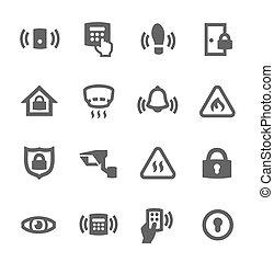 périmètre, sécurité, icônes